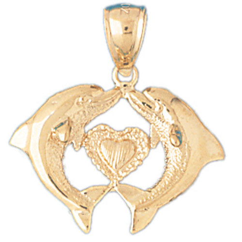 14k Yellow Gold Dolphins with Heart Charm