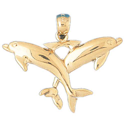 14k Yellow Gold Dolphins Charm