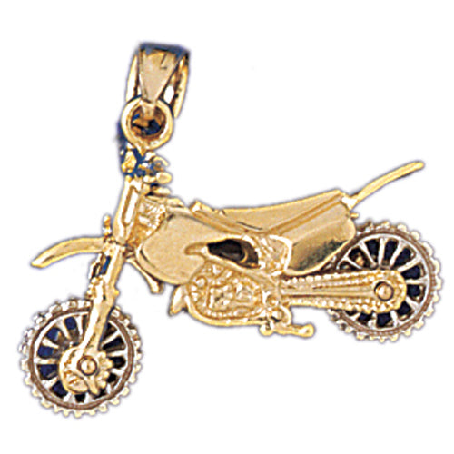 14k Yellow Gold 3-D Motorcycle Charm