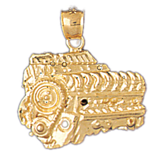 14k Yellow Gold Car Engine Charm