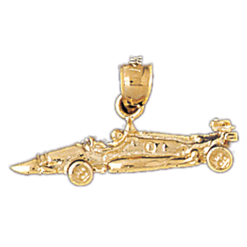 14k Yellow Gold Race Car Charm
