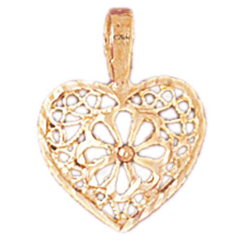 14k Yellow Gold Heart Charm