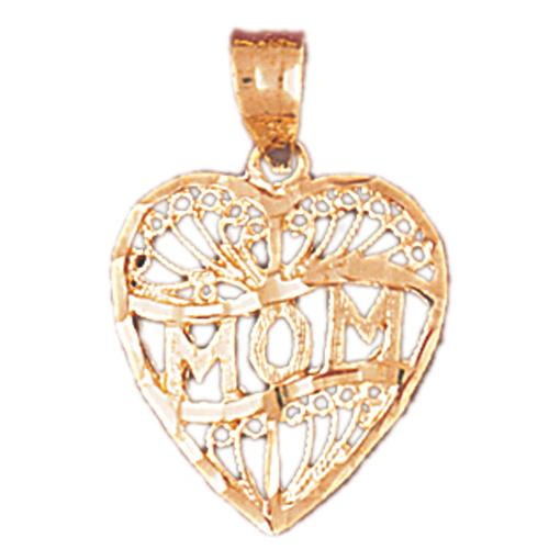 14k Yellow Gold Heart Mom Charm