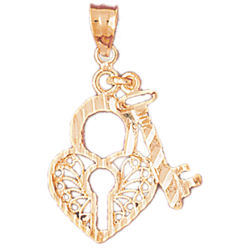 14k Yellow Gold Heart Lock and Key Charm