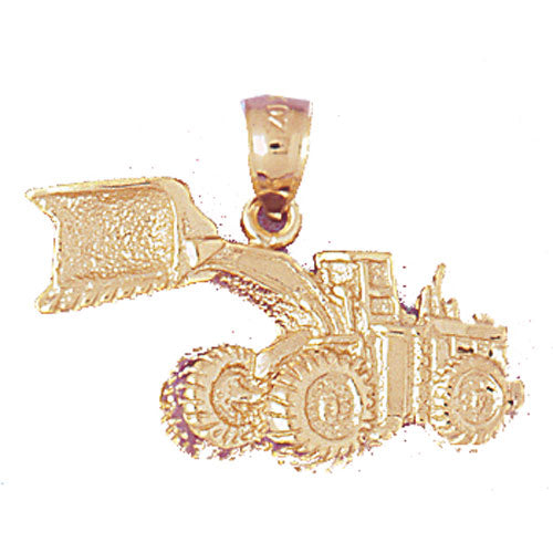 14k Yellow Gold Bulldozer Charm