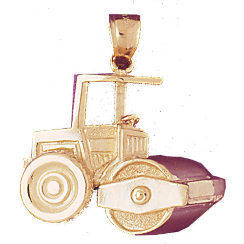 14k Yellow Gold Steam Roller Charm