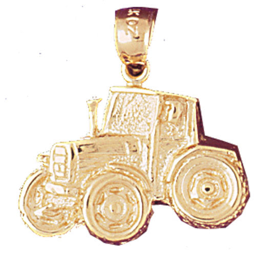 14k Yellow Gold Tractor Charm