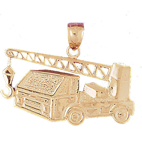 14k Yellow Gold Cement Truck Charm