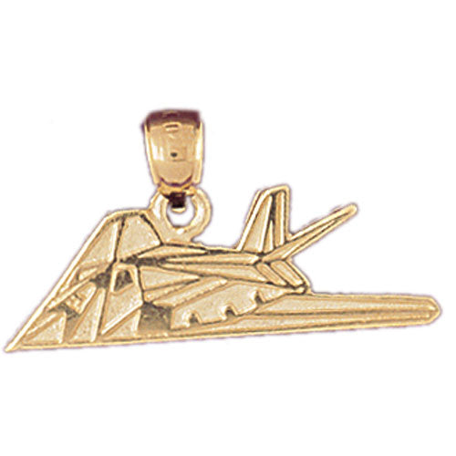 14k Yellow Gold Military Jet Fighter Charm
