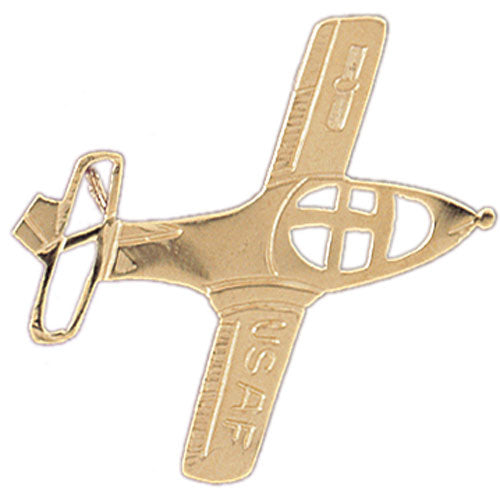 14k Yellow Gold USAF Airplane Charm