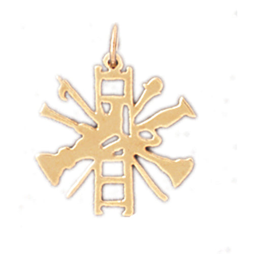 14k Yellow Gold Firemans Ladder Charm