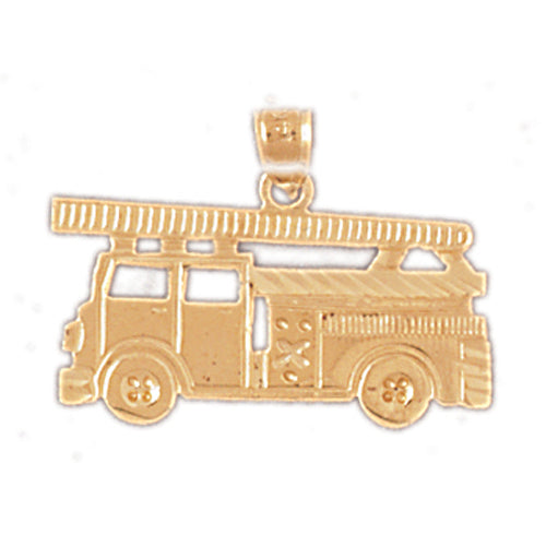 14k Yellow Gold Fire Truck Charm