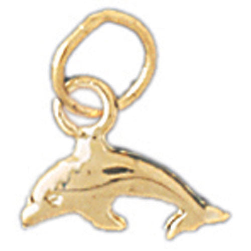 14k Yellow Gold Dolphin with Coral Charm