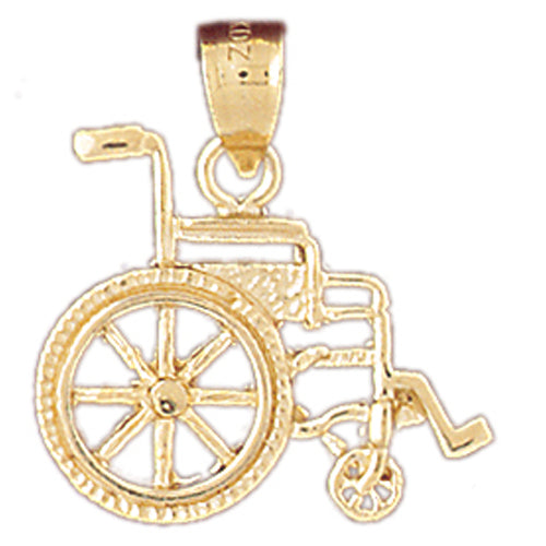 14k Yellow Gold Wheelchair Charm