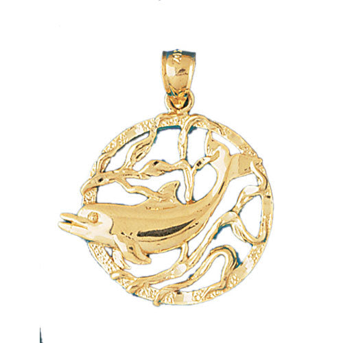 14k Yellow Gold Dolphins jumping through hoop Charm