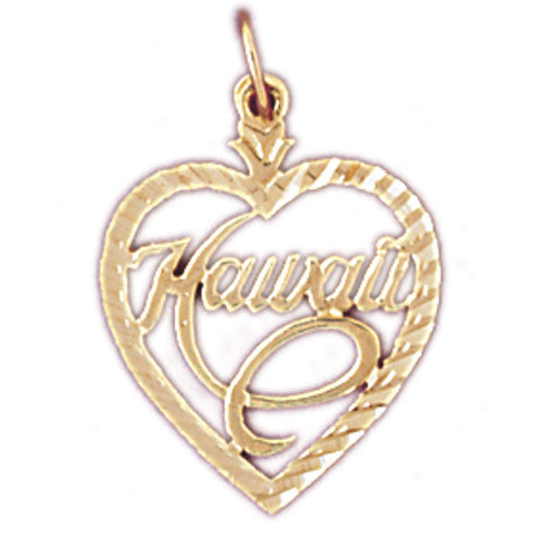 14k Yellow Gold Hawaii Charm