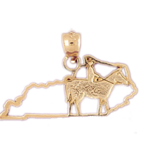 14k Yellow Gold Kentucky Charm