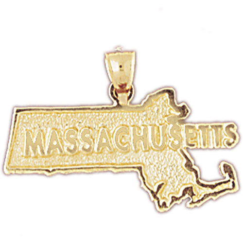 14k Yellow Gold Massachusetts Charm