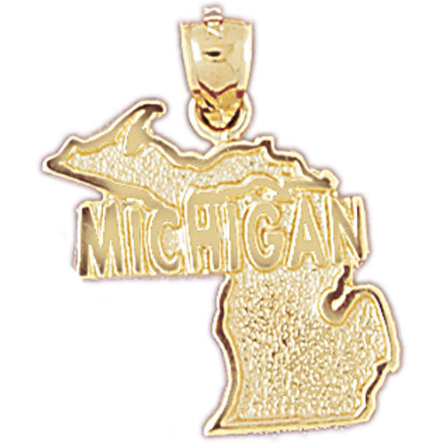 14k Yellow Gold Michigan Charm