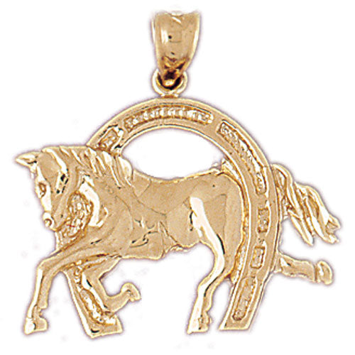 14k Yellow Gold Horseshoe with Horse Charm