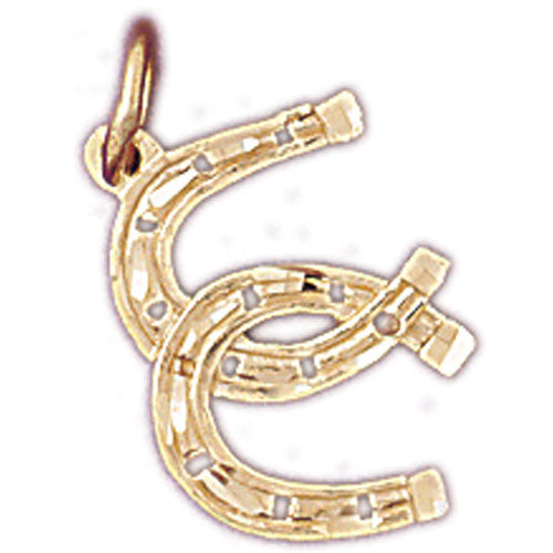 14k Yellow Gold Double Horseshoe Charm