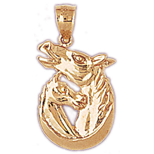 14k Yellow Gold Horseshoe with Horses Charm