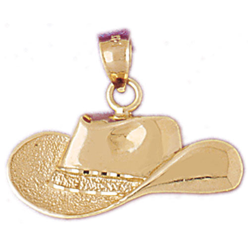 14k Yellow Gold Cowboy Hat Charm