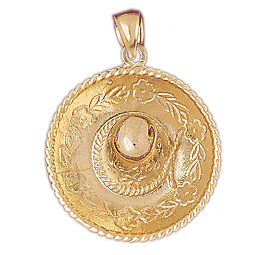 14k Yellow Gold 3-D Sombrero Charm