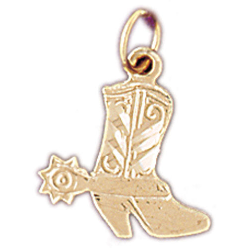 14k Yellow Gold Cowboy Boots Charm
