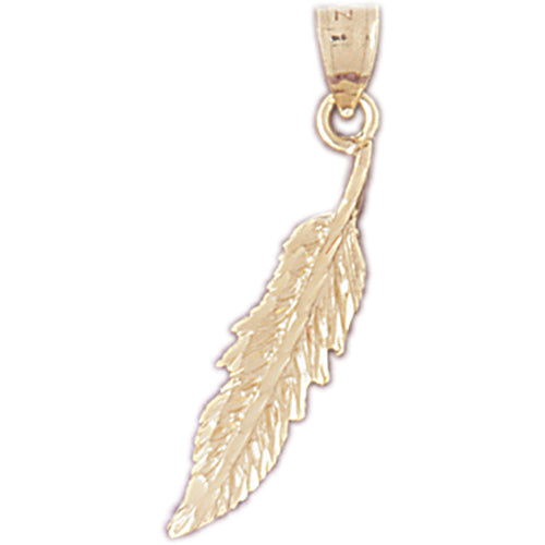 14k Yellow Gold Feather Charm