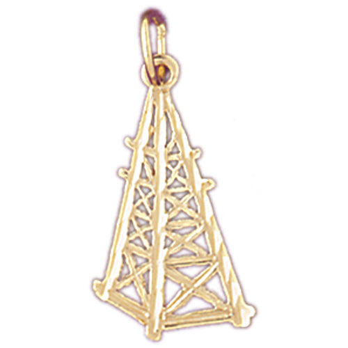 14k Yellow Gold Oil Well, Oil Rig Charm