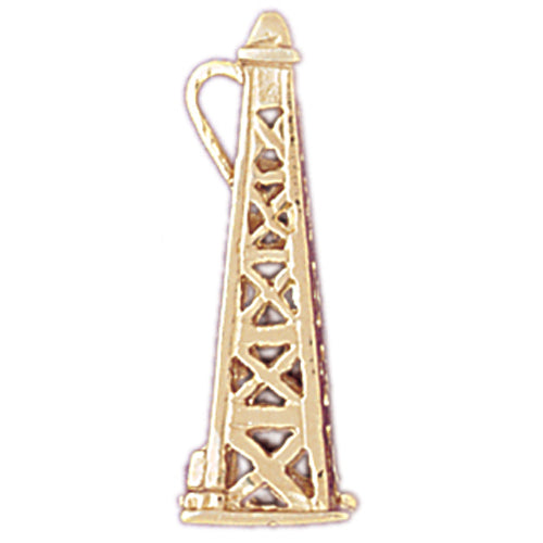 14k Yellow Gold 3-D Oil Rig Charm