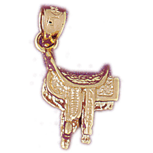 14k Yellow Gold 3-D Saddle Charm