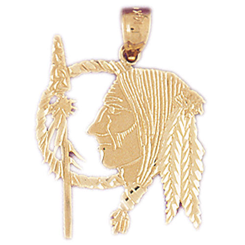 14k Yellow Gold Indian Head Charm