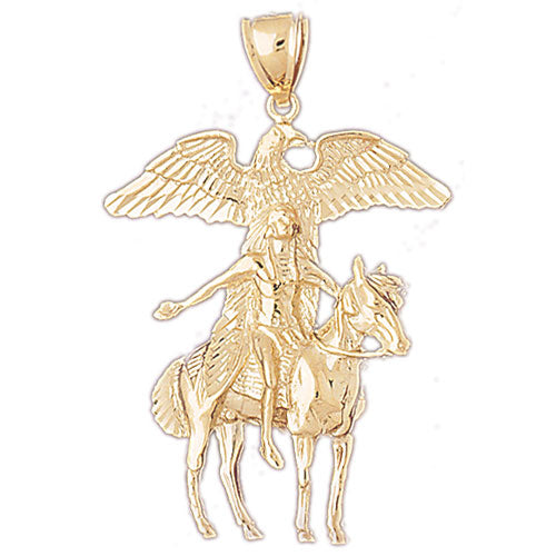 14k Yellow Gold Indian Eagle Charm