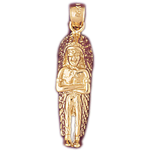 14k Yellow Gold Indian Charm