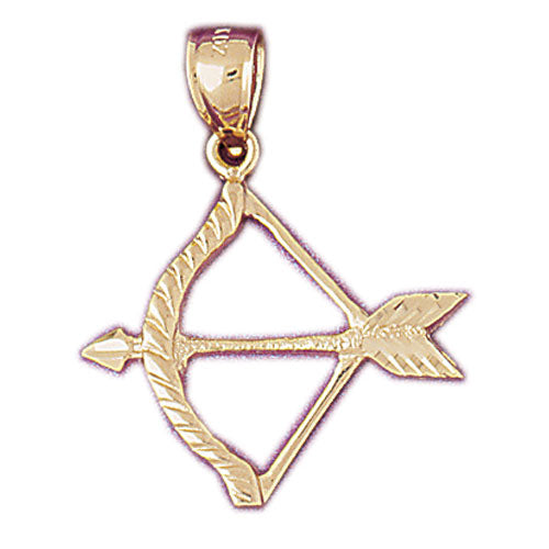 14k Yellow Gold Bow and Arrow Charm