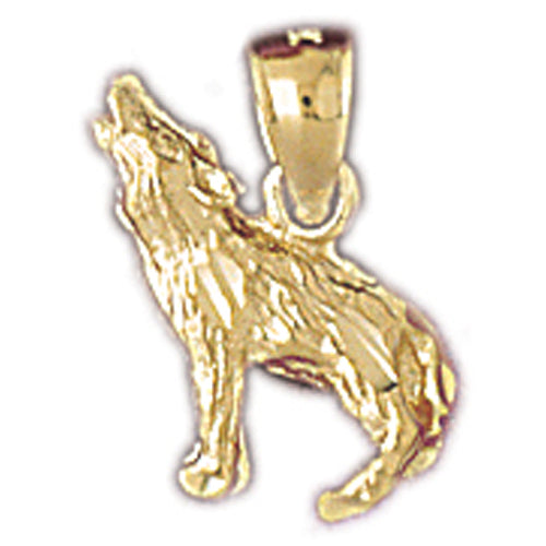 14k Yellow Gold Wolf Charm