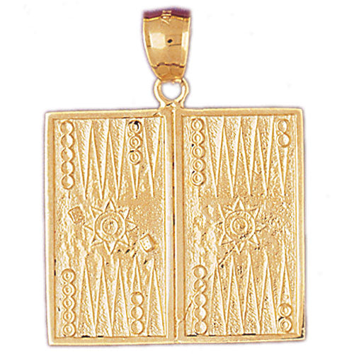 14k Yellow Gold Backgammon Charm