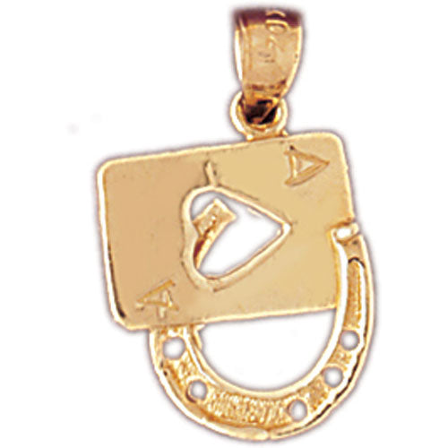 14k Yellow Gold Lucky Ace of Spades Charm