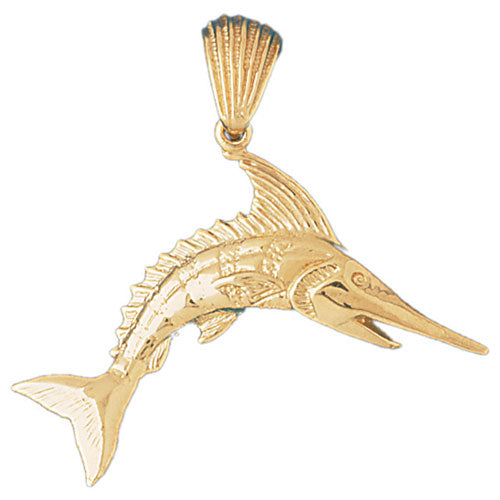 14k Yellow Gold Marlin Charm