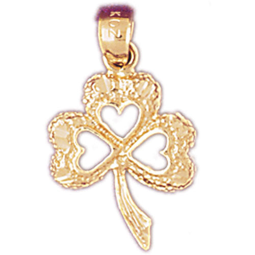 14k Yellow Gold Shamrock, Clover Charm