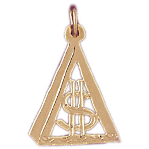 14k Yellow Gold Dollar Sign Charm