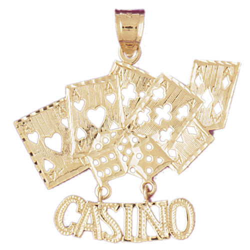 14k Yellow Gold Casino with Cards Charm