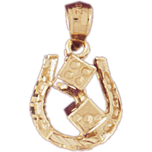 14k Yellow Gold Horseshoe with Dice Charm