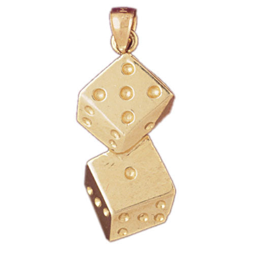 14k Yellow Gold Dice Charm