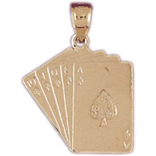 14k Yellow Gold Playing Cards, Flush Charm