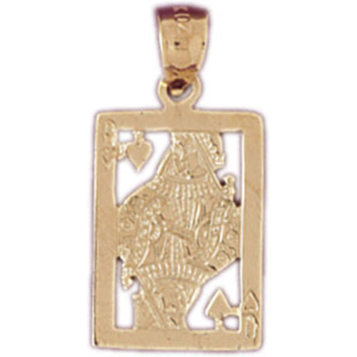 14k Yellow Gold Playing Cards, Queen of Spades Charm