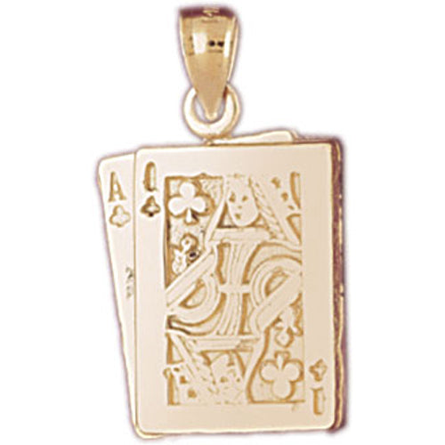 14k Yellow Gold Playing Cards, Ace and King Charm