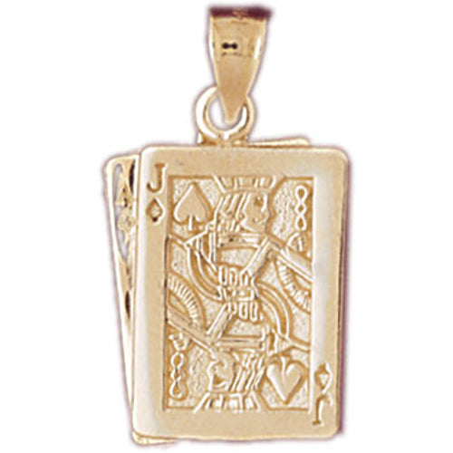 14k Yellow Gold Playing Cards, Ace and Jack Charm
